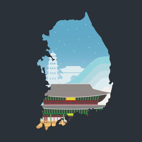 Ilustração da Coréia dos Jogos Olímpicos de Inverno. PyeongChang 2018 Tagline Concept. Ilustração do mapa coreano. vetor