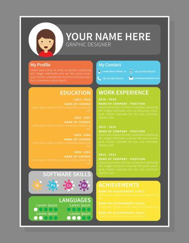 Colourfull Graphic Designer Resume Template  Download Free Vector