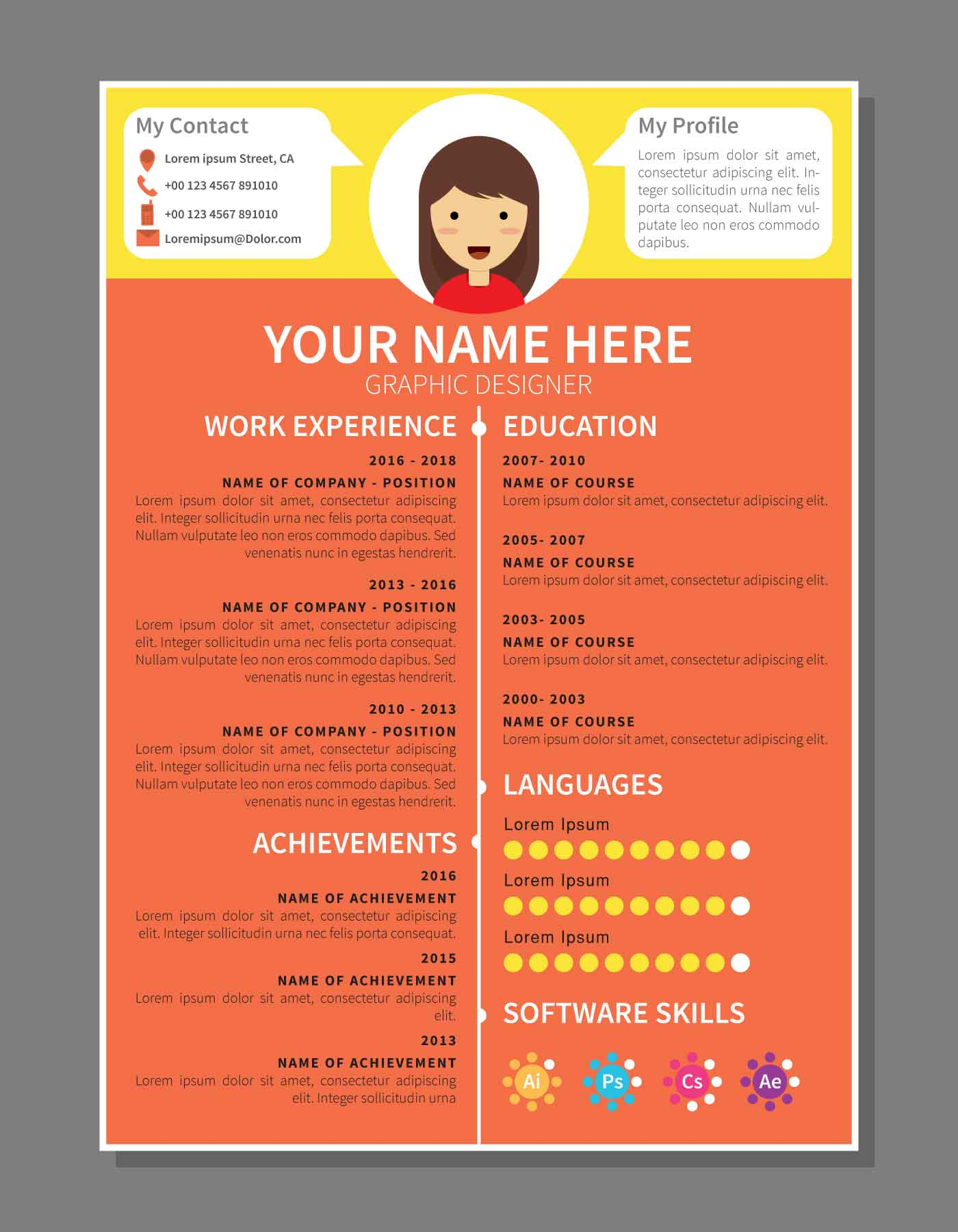 Graphic Designer Resume Template Download Free Vector