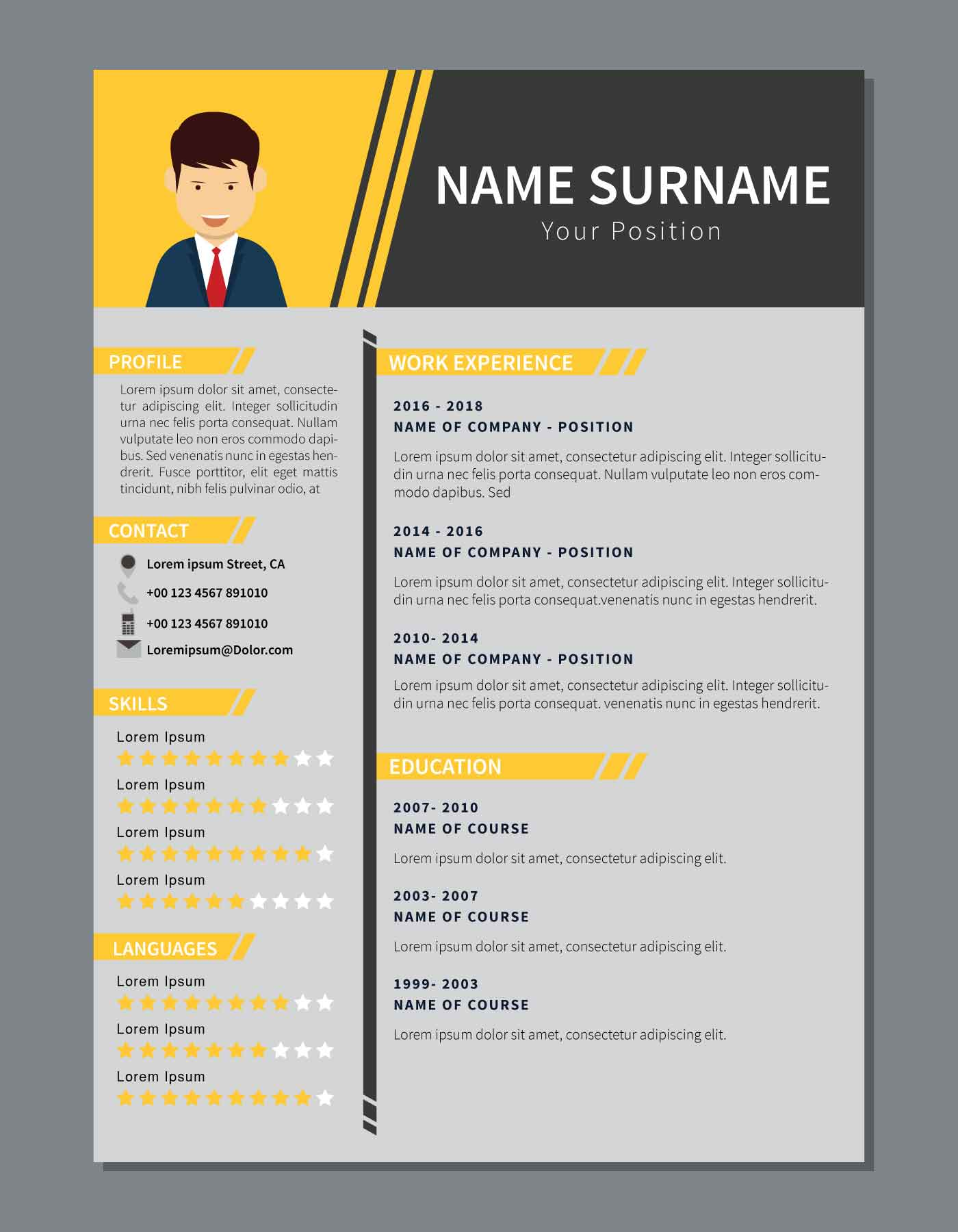 Simple Corporate Resume Download Free Vector Art Stock Graphics