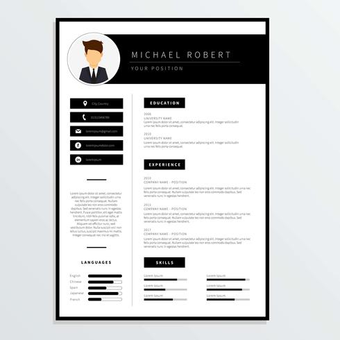 Corporate Resume Template Vector - Download Free Vector Art, Stock ...