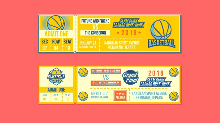 Basketball Event Ticket Free Vector