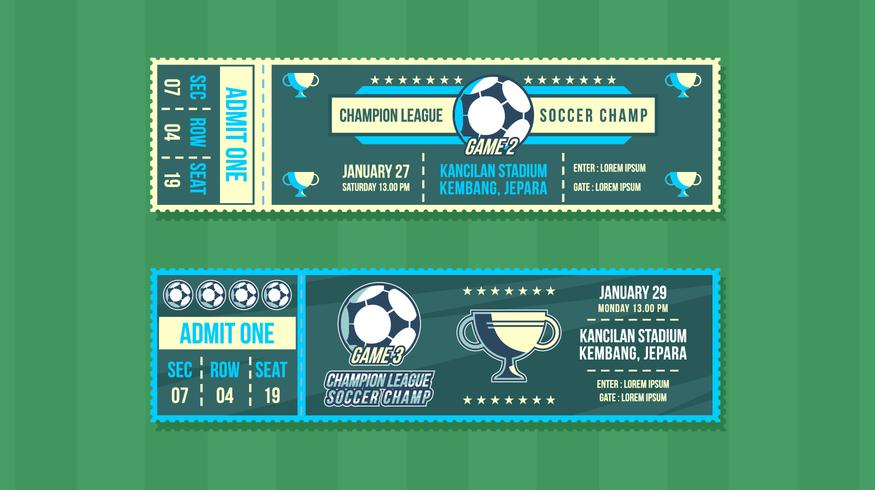 Vecteur gratuit de Soccer Champ Event Ticket