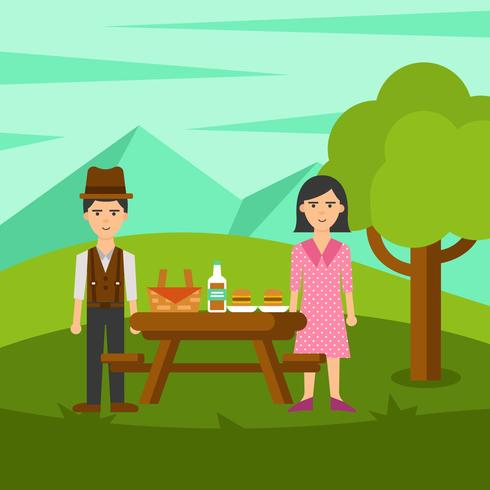 Family Picnic in Nature Vector - Download Free Vector Art, Stock Graphics & Images