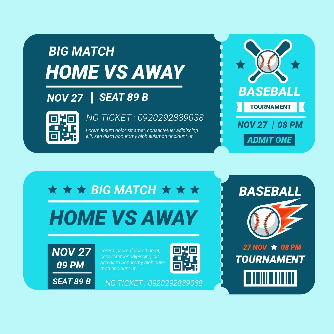baseball tournament ticket vector