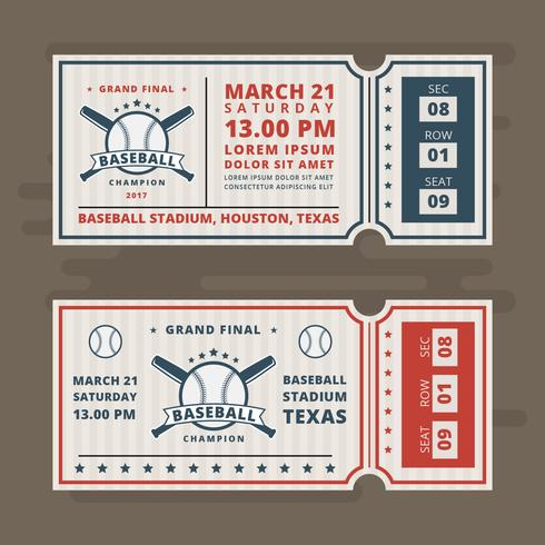 Invitation Tickets for Baseball Vector