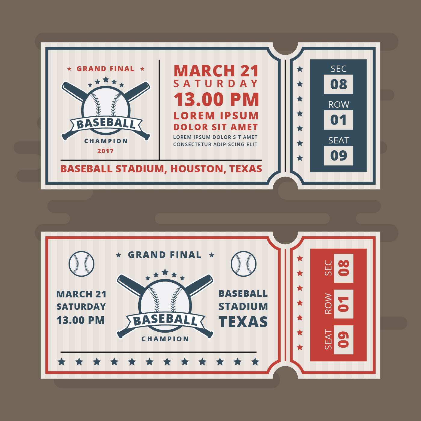 invitation tickets for baseball vector