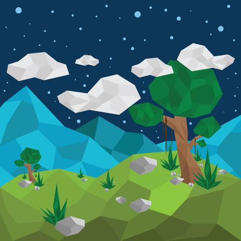 Low Poly Forest View Vector