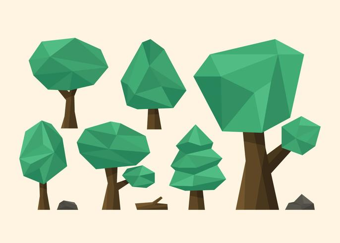 Simple Low Poly Trees vector