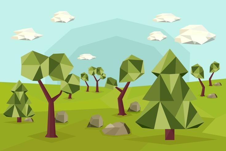 Low Poly Wald Vektoren