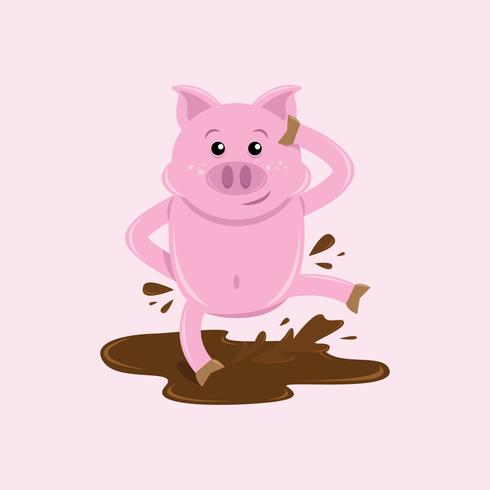 Cute Critters Pig Illustration Vector