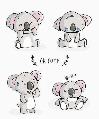 Cute Koala Character Doodle Vector Illustration - Download