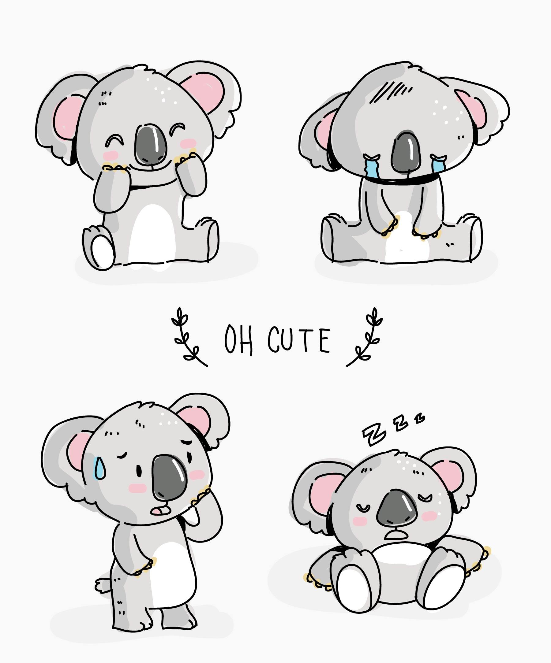 Cute Koala Character Doodle Vector Illustration - Download ...