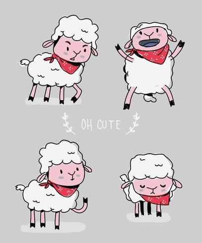 Cute Sheep Character Doodle Vector Illustration - Download