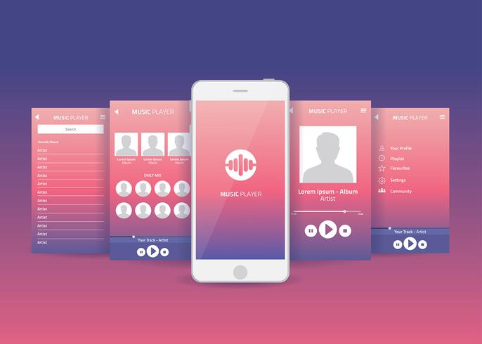 Application mobile Gui Music Player Vector