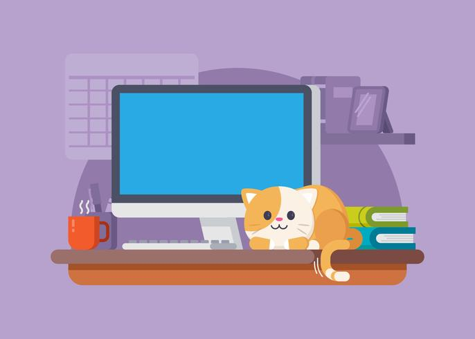 Cute Cat In The Workspace Illustration