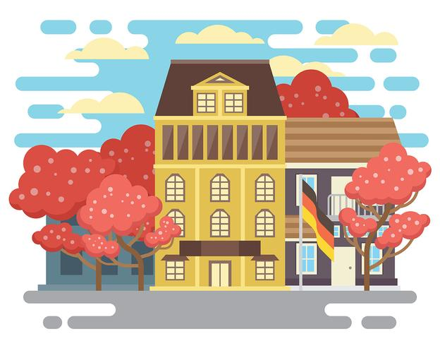 Springtime Bonn Germany Illustration