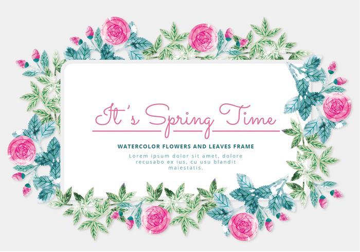 Cadre floral de vecteur de printemps