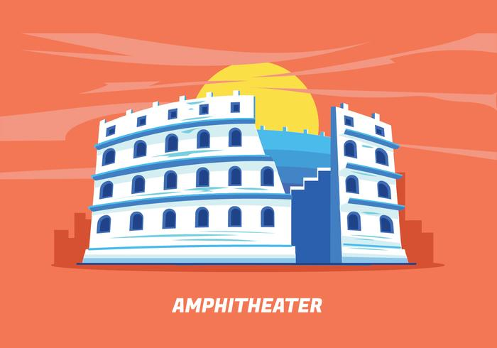 Amphitheater Ruin Ancient Architecture History City Vector Illustration in Perspective View
