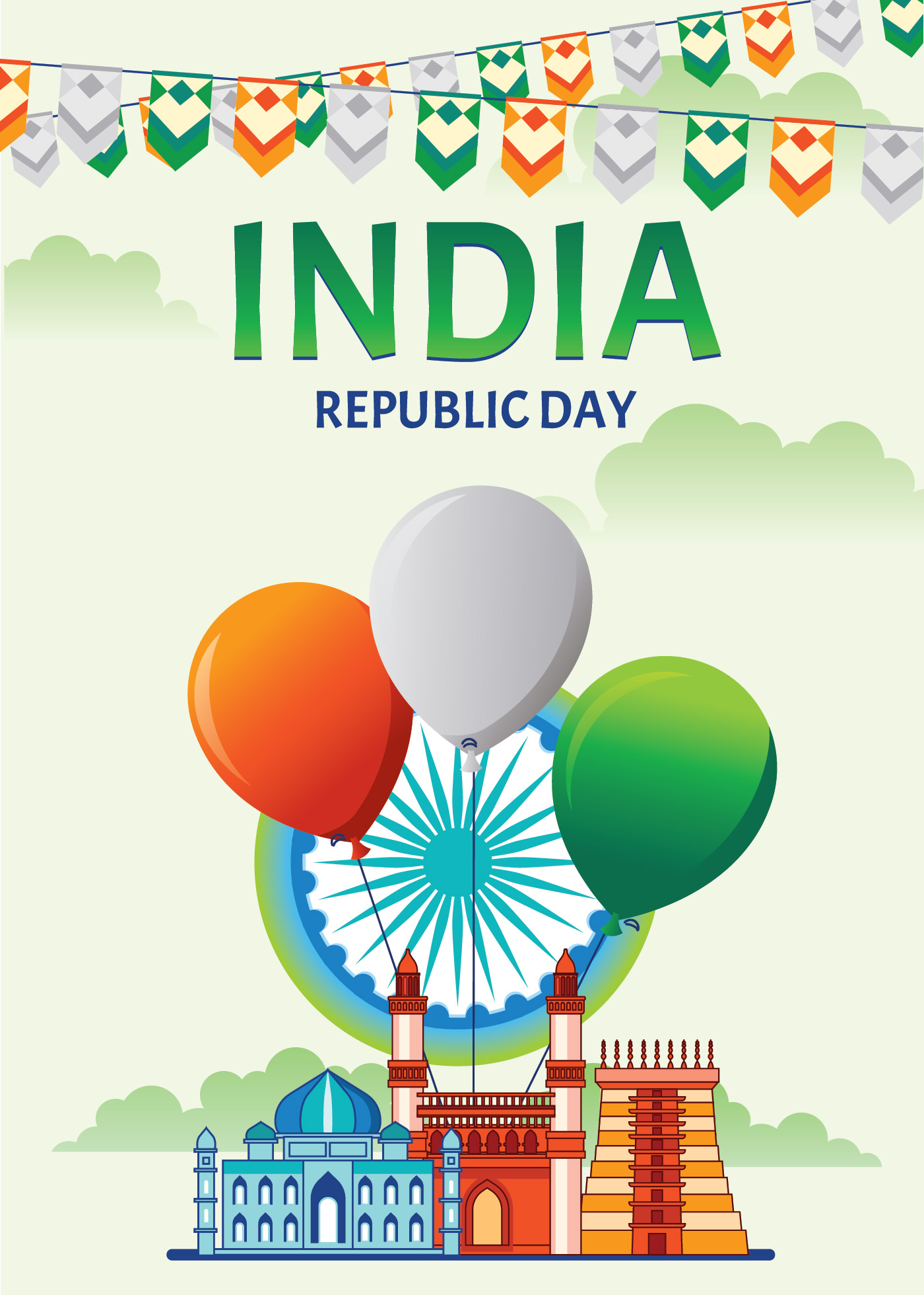 Happy Indian Republic Day Celebration Poster or Banner on ...
