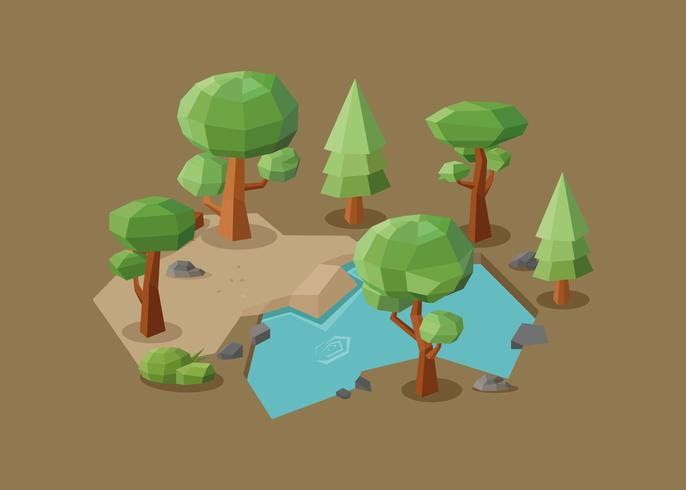 Low-Poly-Wald-Illustration