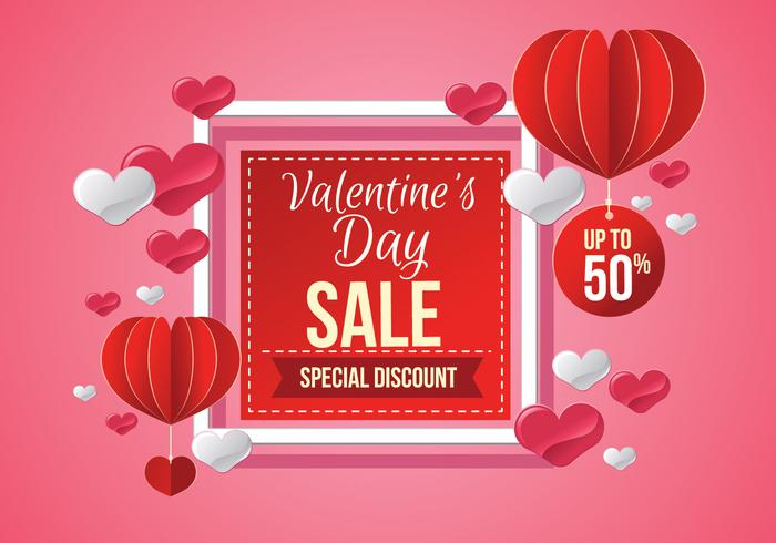 Vente de Saint Valentin, affiche Template Vector Illustration