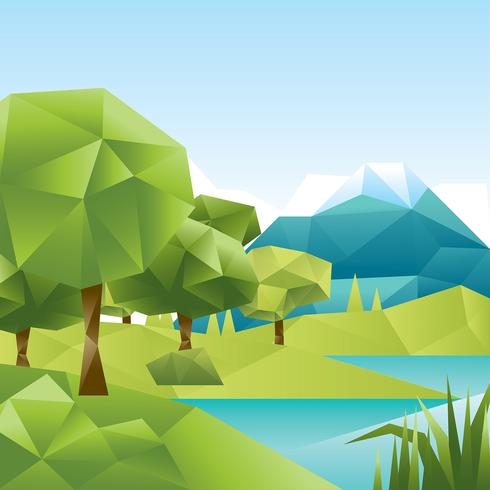 Low Poly Forest Lake Vector