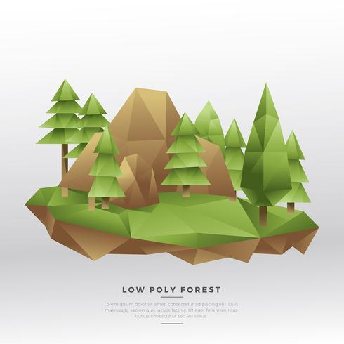 Lage Poly Pine Forest Vector