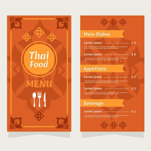 Thailand Food Restaurant Menu Vector