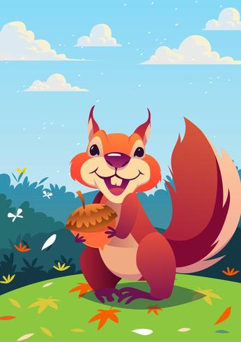 Cute Critters Squirrel vector