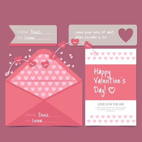 Vector Valentine's Day Card and Envelope