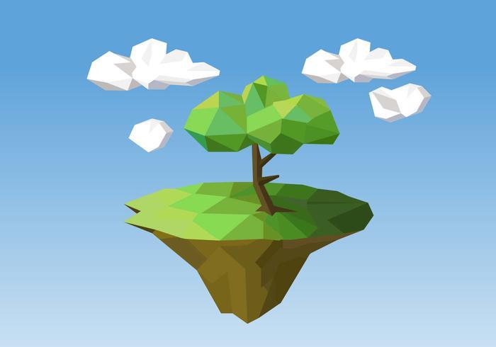 Tree On Island Vector