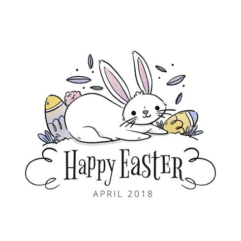 Cute Rabbit With Eggs And Leaves To Easter Day