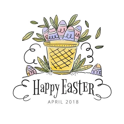 Leuke mand met eieren binnen Pasen dag