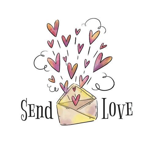 Netter Umschlag mit den Herzen, die heraus von ihm zum Valentinstag kommen