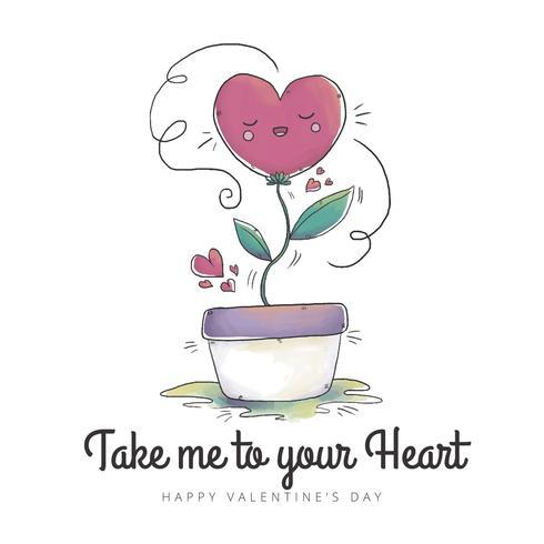 Plante mignonne avec coeur et ornements à la Saint-Valentin