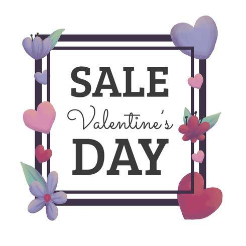 Valentine's Day Sale Background With Flowers