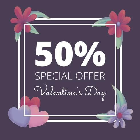 Cute Valentine's Day Sale Background With Leaves And Flowers