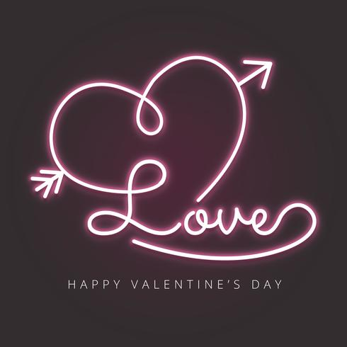 Love With Heart And Arrow In Neon Effect