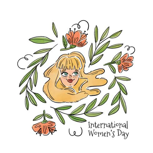 Nette Blondie-Frau, die mit Blättern und rosa Blumen lächelt