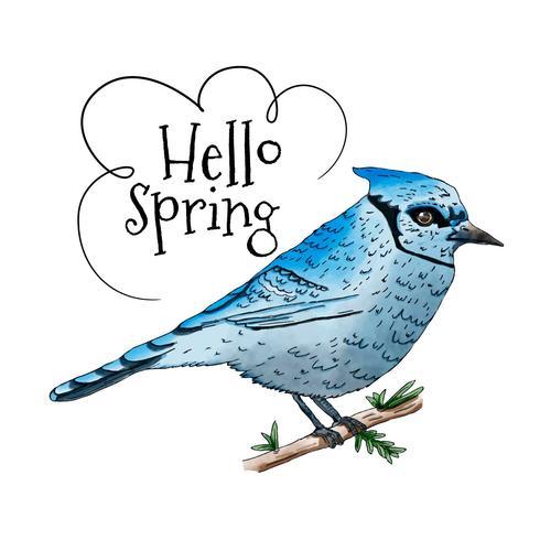 Oiseau bleu sur branche avec citation