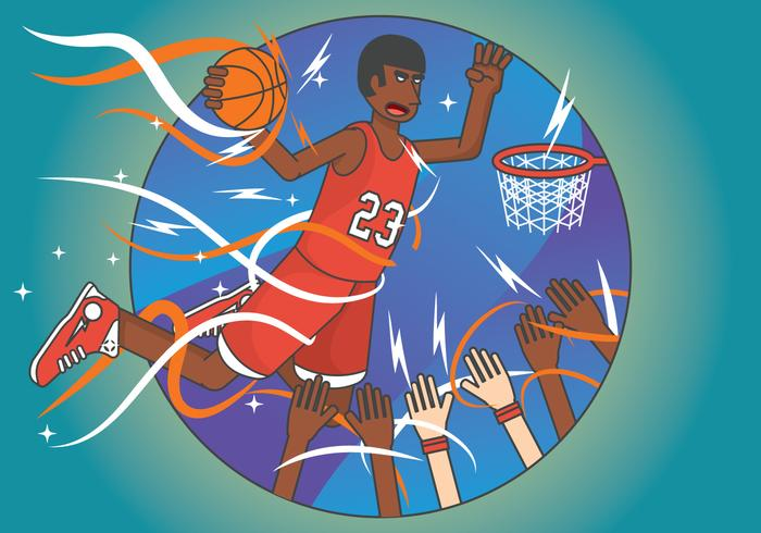 Exaggerated basketball player