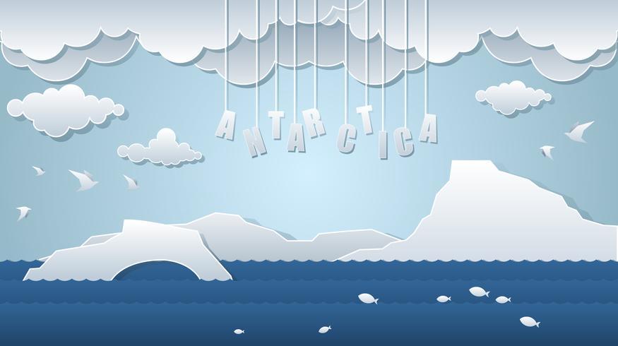 Antarctique Paper Art Landscape vecteur libre
