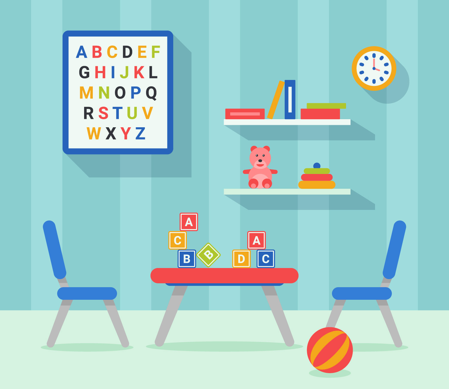 Kids room decor flat vector download free vector art for Baby room decoration games free online