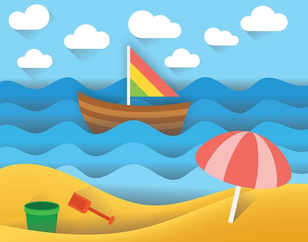 Beach Paper Art Landscape Vector - Download Free Vector Art, Stock Graphics & Images