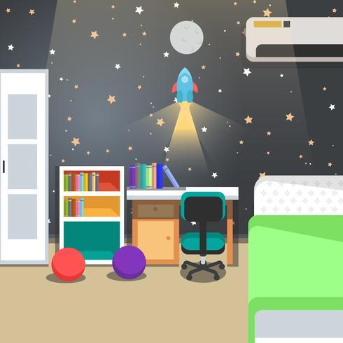 Illustrazione di vettore di tema dello spazio della decorazione della stanza dei bambini