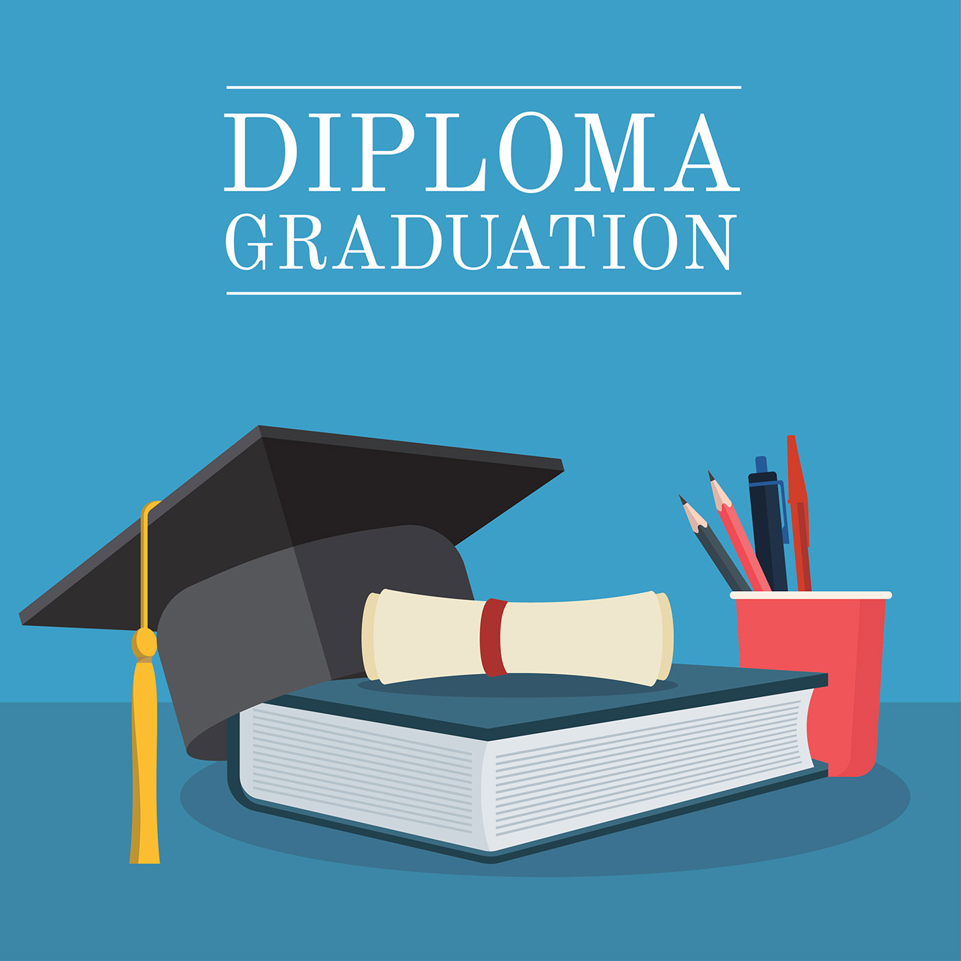 Diploma Graduation Set Vector Download Free Vector Art