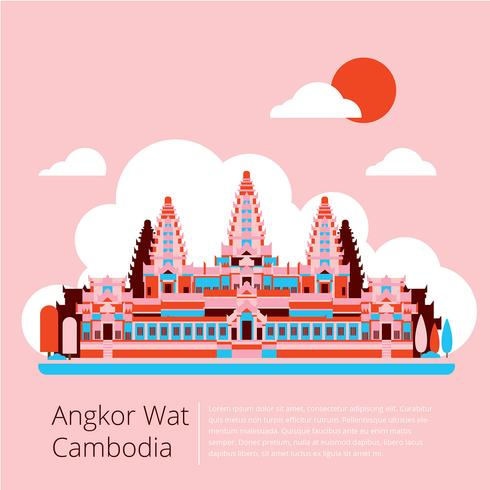 Angkor Wat Cambodge vecteur plat