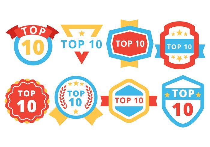 Gratis top 10 badge vector