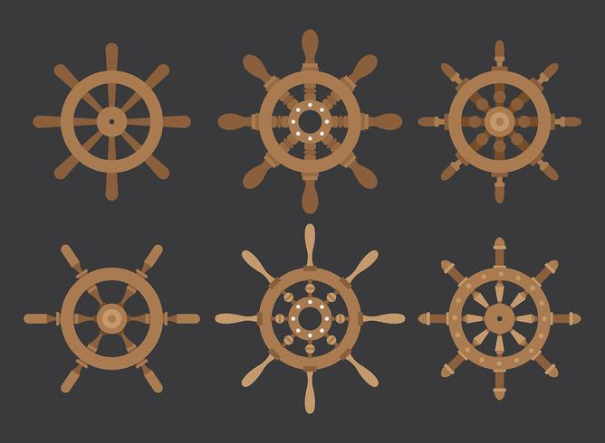 Ships Wheel Vector Icons